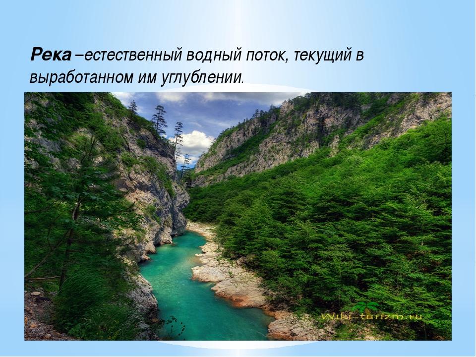 Река –естественный водный поток, текущий в выработанном им углублении.