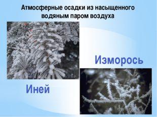 Атмосферные осадки из насыщенного водяным паром воздуха Изморось Иней