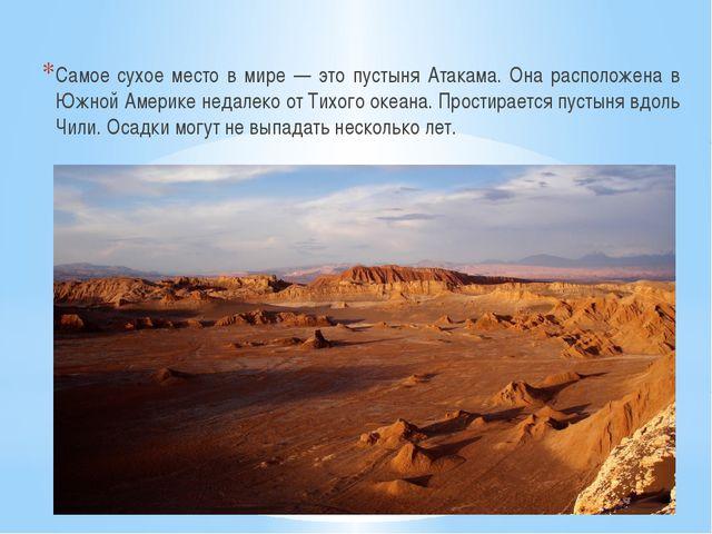 Самое сухое место в мире — это пустыня Атакама. Она расположена в Южной Амер...