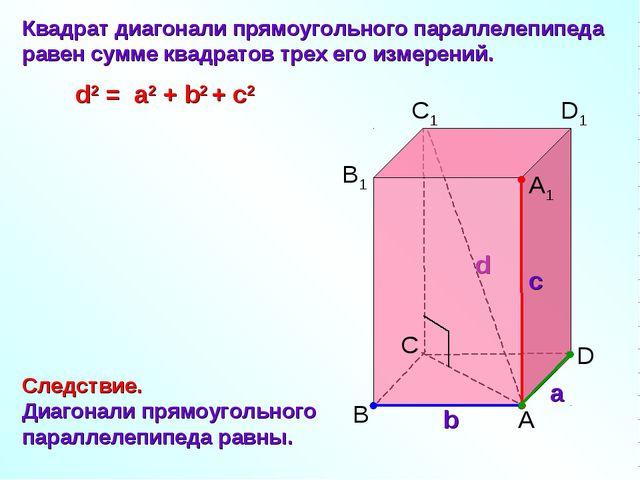 C а b с B A D B1 C1 D1 A1 Квадрат диагонали прямоугольного параллелепипеда ра...