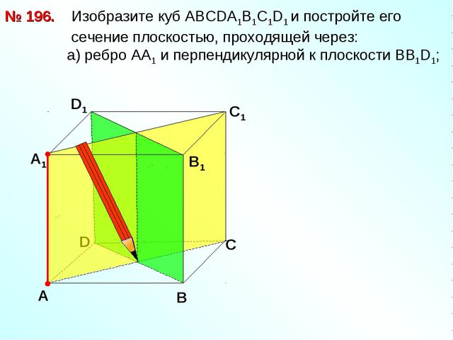 № 196. D В D1 С1 Изобразите куб АВСDА1В1С1D1 и постройте его сечение плоскост...