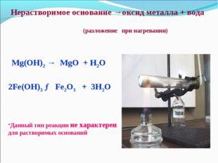 Нерастворимое основание →оксид металла + вода (разложение при нагревании) Mg