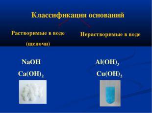 Классификация оснований Растворимые в воде (щелочи) Нерастворимые в воде NaOH