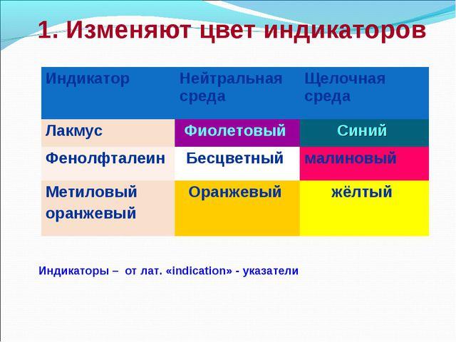 1. Изменяют цвет индикаторов Индикаторы – от лат. «indication» - указатели