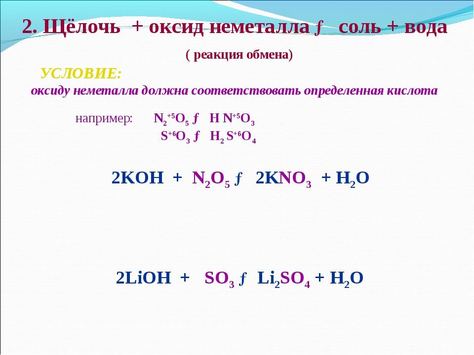 2. Щёлочь + оксид неметалла → соль + вода ( реакция обмена) УСЛОВИЕ: оксиду н...