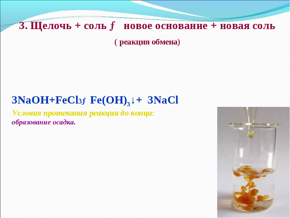 3. Щелочь + соль → новое основание + новая соль ( реакция обмена) 3NaOH+FeCl...