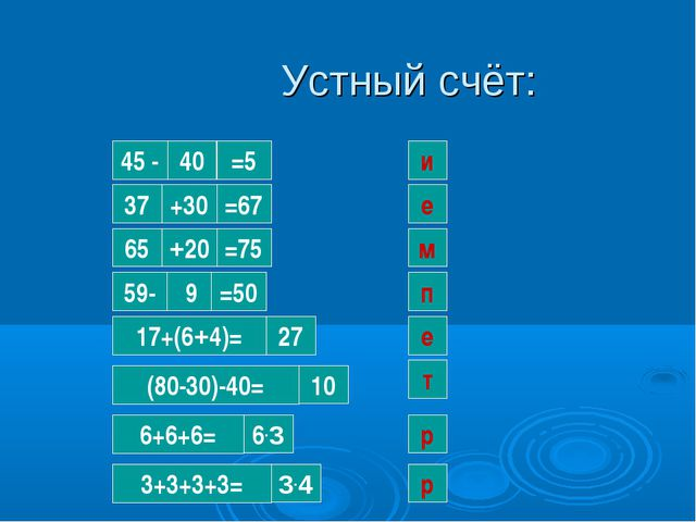Устный счёт: 40 и 45 - =5 37 +30 =67 е 65 +20 =75 м 59- 9 =50 п 17+(6+4)= 27...