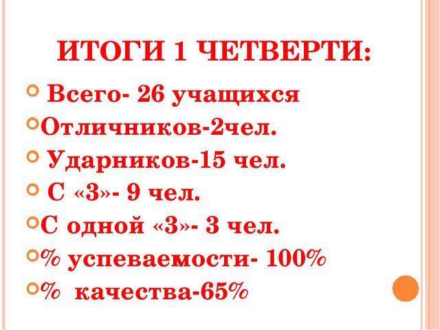 ИТОГИ 1 ЧЕТВЕРТИ: Всего- 26 учащихся Отличников-2чел. Ударников-15 чел. С «3...