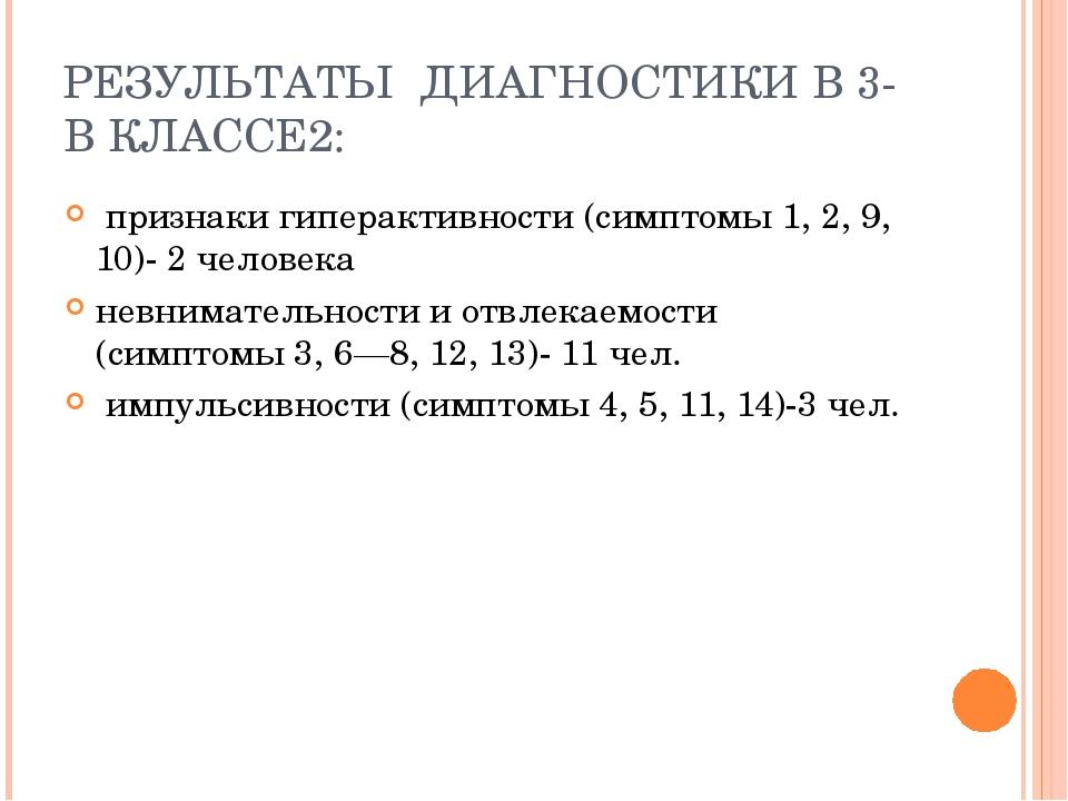 РЕЗУЛЬТАТЫ ДИАГНОСТИКИ В 3-В КЛАССЕ2: признаки гиперактивности (симптомы 1, 2...