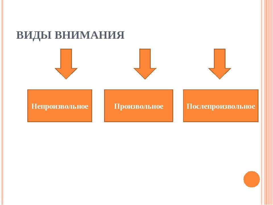 ВИДЫ ВНИМАНИЯ Непроизвольное Произвольное Послепроизвольное