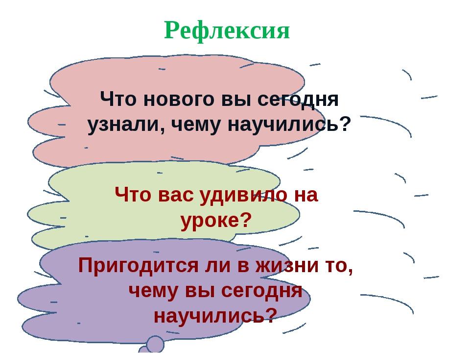 Рефлексия Что нового вы сегодня узнали, чему научились? Что вас удивило на ур...