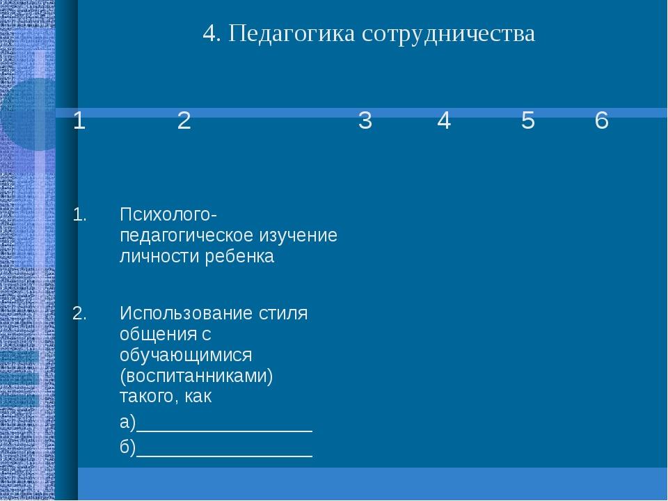 4. Педагогика сотрудничества 1 2 3 4 5 6 1.Психолого-педагогическое изу...