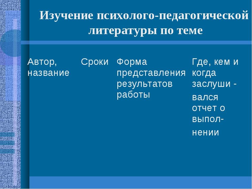 Изучение психолого-педагогической литературы по теме Автор, названиеСрокиФо...