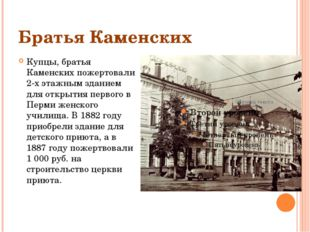 Братья Каменских Купцы, братья Каменских пожертовали 2-х этажным зданием для