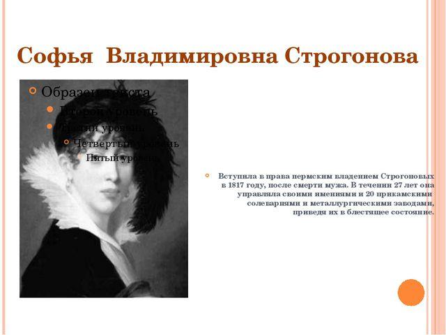 Софья Владимировна Строгонова Вступила в права пермским владением Строгоновых...