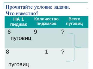 Прочитайте условие задачи. Что известно? Что требуется узнать? Заполните табл
