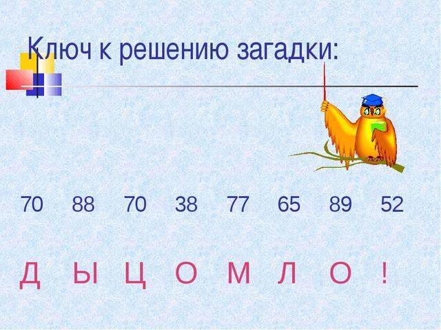 Ключ к решению загадки: 70 887038776589 52 ДЫЦОМЛО!