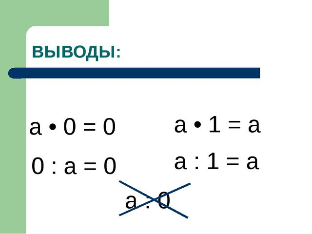 ВЫВОДЫ: а • 0 = 0 а • 1 = а 0 : а = 0 а : 1 = а а : 0