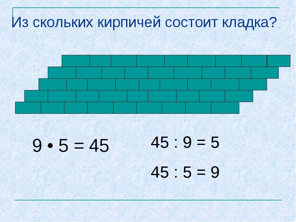 Из скольких кирпичей состоит кладка? 9 • 5 = 45 45 : 9 = 5 45 : 5 = 9