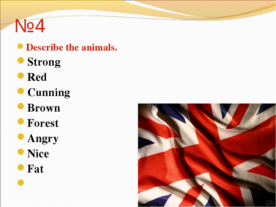 №4 Describe the animals. Strong Red Cunning Brown Forest Angry Nice Fat