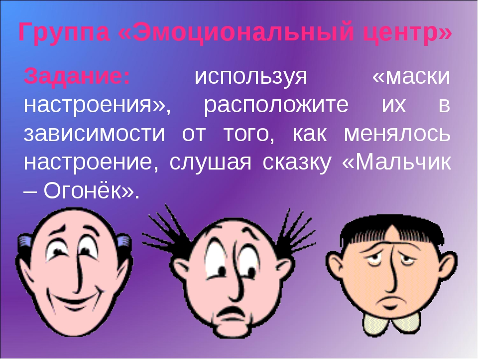 Группа «Эмоциональный центр» Задание: используя «маски настроения», расположи...