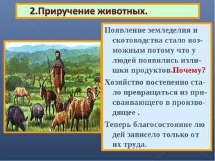 В это же время появилось скотоводство. Мужчины возвращаясь с охоты иногда при