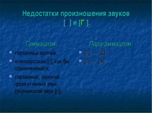 Недостатки произношения звуков [Г] и [Г′]. Гаммацизм: гортанный щелчок; южнор