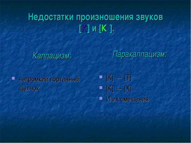 Недостатки произношения звуков [К] и [К′]. Каппацизм: негромкий гортанный щел...