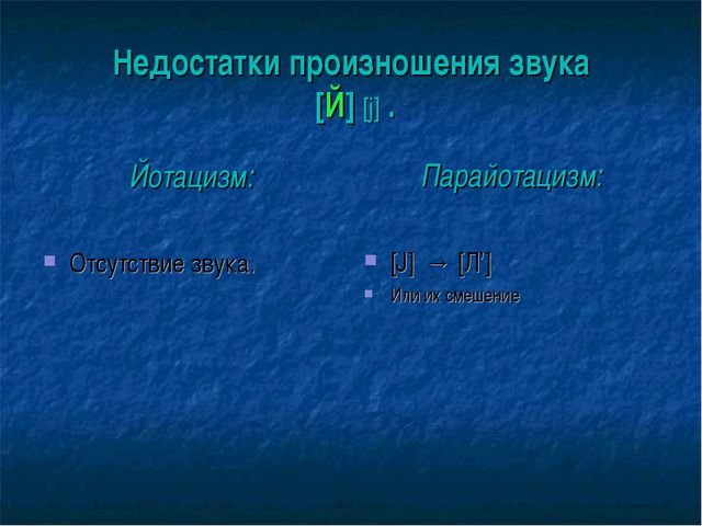 Недостатки произношения звука [Й] [j] . Йотацизм: Отсутствие звука. Парайотац...