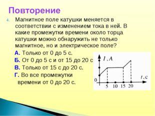 Магнитное поле катушки меняется в соответствии с изменением тока в ней. В как