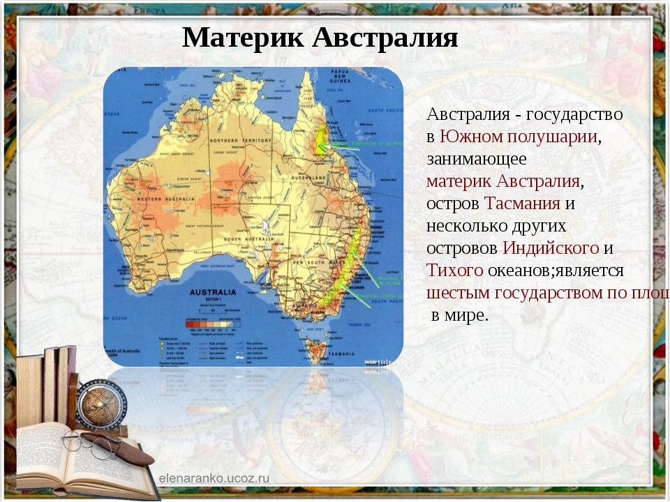Материк Австралия Австралия - государство в Южном полушарии, занимающее мате...
