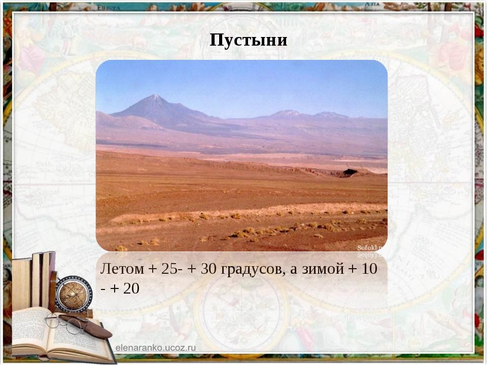 Пустыни Летом + 25- + 30 градусов, а зимой + 10 - + 20