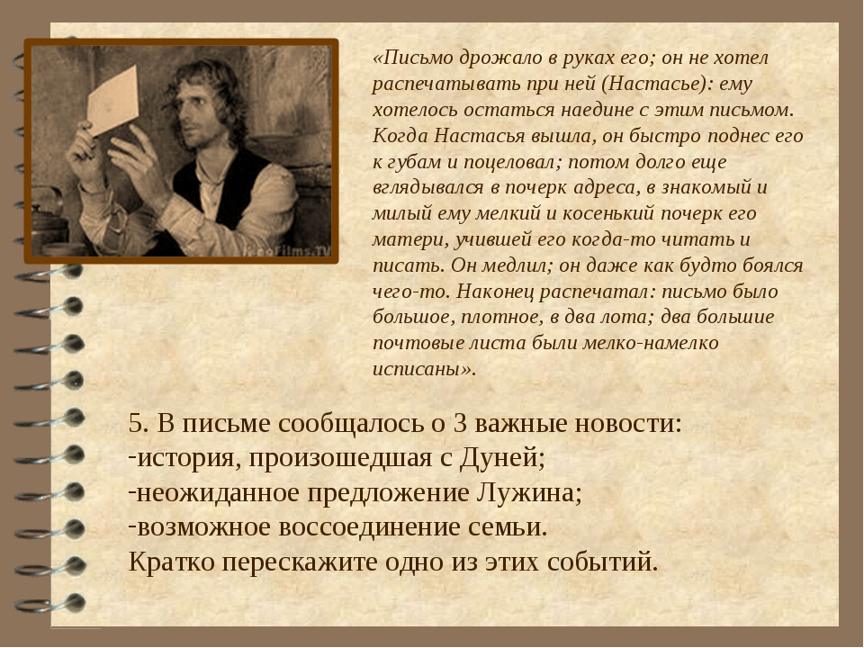 «Письмо дрожало в руках его; он не хотел распечатывать при ней (Настасье): ем...