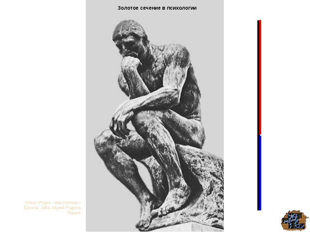 Золотое сечение в психологии Огюст Роден. «Мыслитель». Бронза. 1888. Музей Ро...
