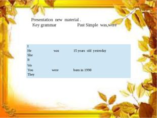 Presentation new material . Key grammar Past Simple was,were I He She It was