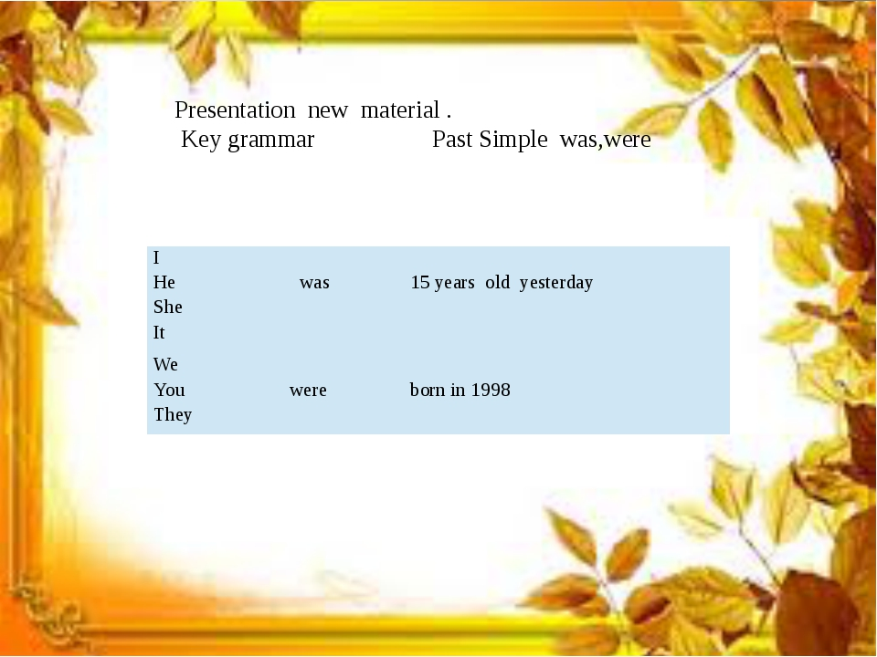 Presentation new material . Key grammar Past Simple was,were I He She It was...