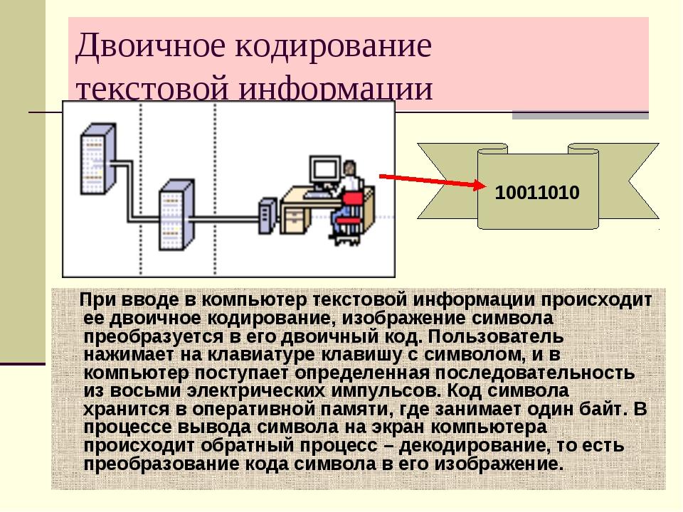 Двоичное кодирование текстовой информации При вводе в компьютер текстовой инф...
