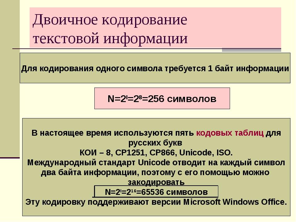 Двоичное кодирование текстовой информации Для кодирования одного символа треб...