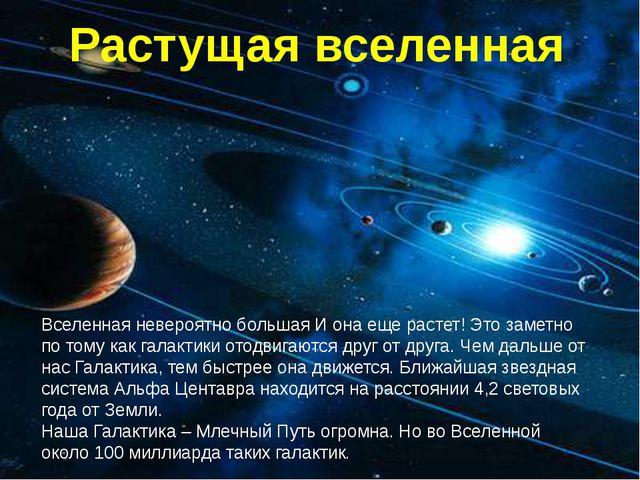 Растущая вселенная Вселенная невероятно большая И она еще растет! Это заметно...