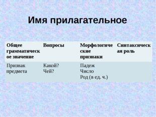 Имя прилагательное Общее грамматическое значение Вопросы Морфологическиепризн