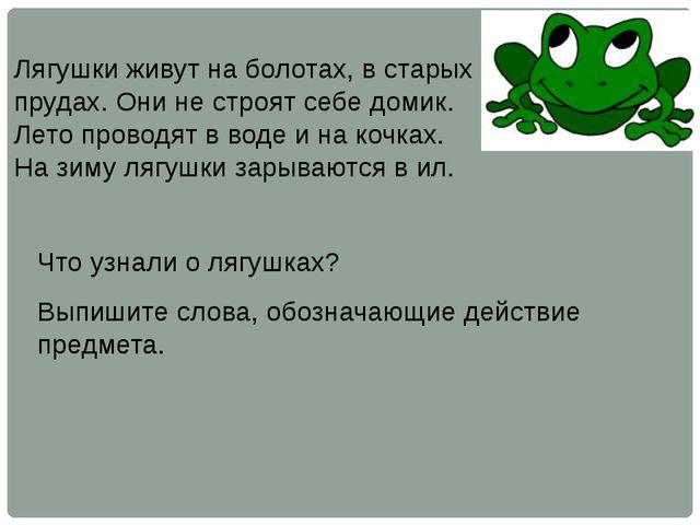 Лягушки живут на болотах, в старых прудах. Они не строят себе домик. Лето про...