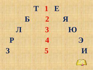 Т 1 Е Б 2 Я Л 3 Ю Р 4 Э З 5 И