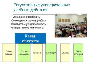 К ним относятся Прогно- зирование Контроль Само- регуляция Коррекция Регуляти