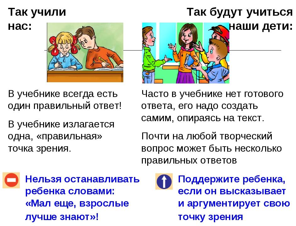 Так учили нас: Так будут учиться наши дети: Нельзя останавливать ребенка слов...