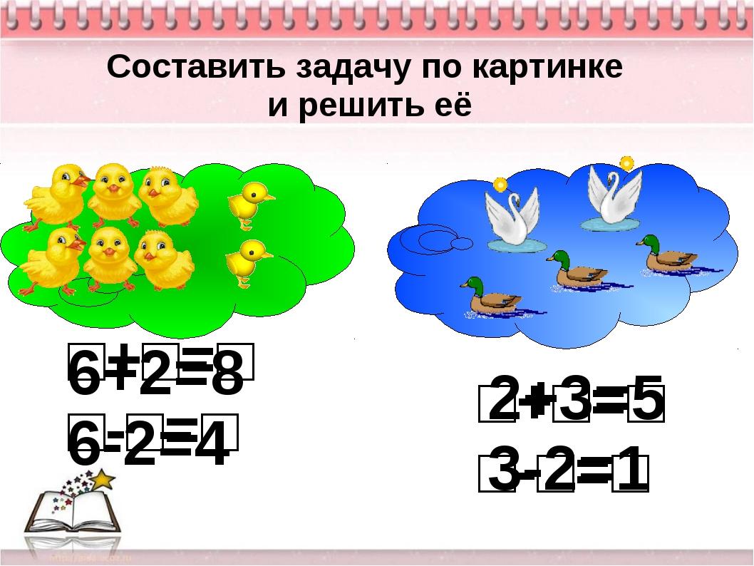 Составить задачу по картинке и решить её □+□=□ □-□=□ □+□=□ □-□=□ 6+2=8 6-2=4...