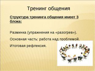 Тренинг общения Структура тренинга общения имеет 3 блока: Разминка (упражнени
