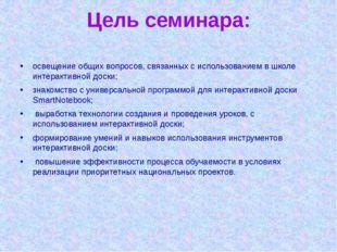 Цель семинара: освещение общих вопросов, связанных с использованием в школе и