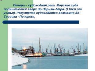 Печора – судоходная река. Морские суда поднимаются вверх до Нарьян–Мара. (11
