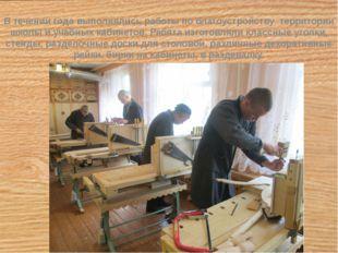 В течении года выполнялись работы по благоустройству территории школы и учеб