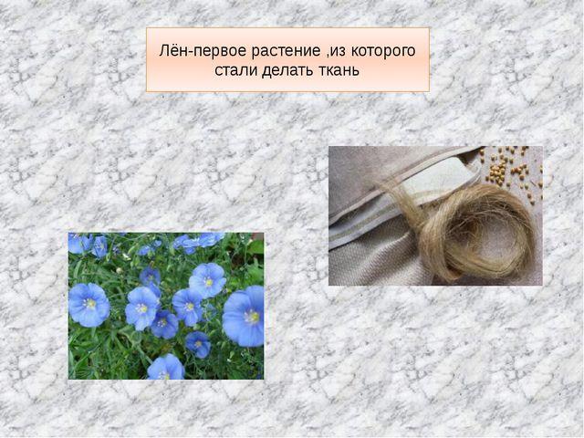 Лён-первое растение ,из которого стали делать ткань